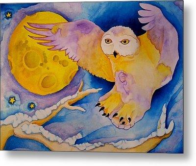 The Landing Of Snowy Owl Metal Print