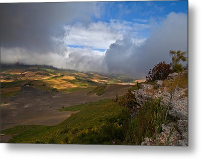 The Landscape Near The Roman Ruins Metal Print by Panoramic Images