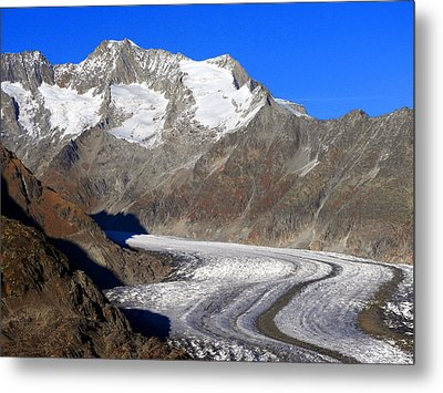 The Large Aletsch Glacier In Switzerland Metal Print by Ernst Dittmar