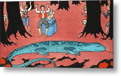 The Large Blue Lizard Metal Print
