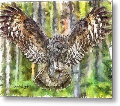 The Largest Owl - Da Metal Print by Leonardo Digenio