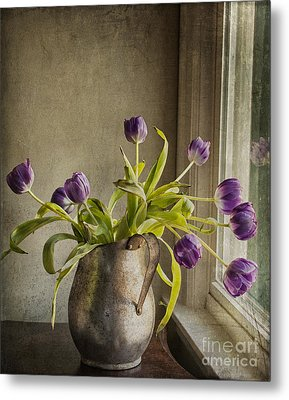 Metal Print featuring the mixed media The Last Tulips by Terry Rowe
