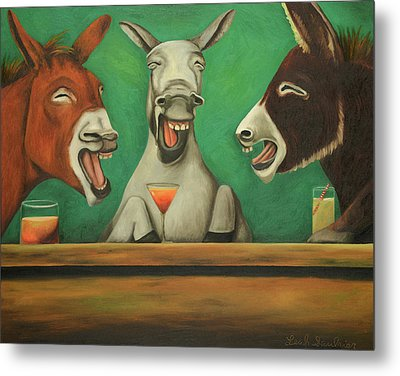 The Laughing Donkeys Metal Print by Leah Saulnier The Painting Maniac