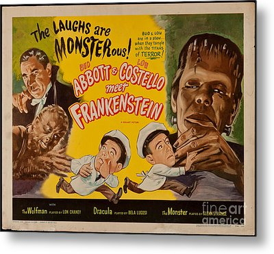 The Laughs Are Monsterous Abott An Costello Meet Frankenstein Classic Movie Poster Metal Print