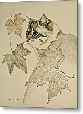 the Leaf Cat Metal Print