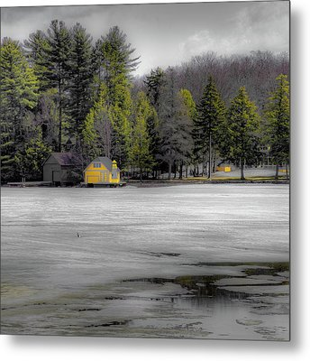 Metal Print featuring the photograph The Lighthouse On Frozen Pond by David Patterson