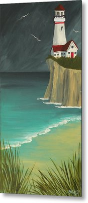 The Lighthouse On The Cliff Metal Print