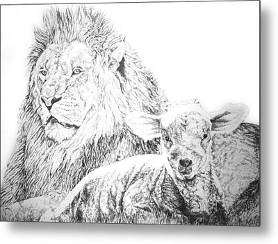 The Lion And The Lamb Metal Print by Bryan Bustard