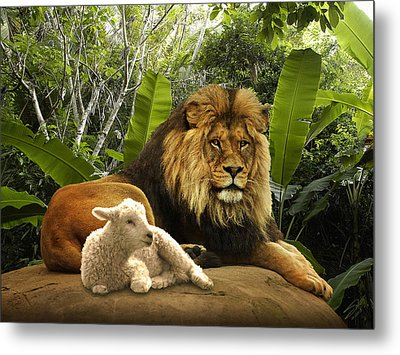 The Lion And The Lamb Metal Print by IM Spadecaller