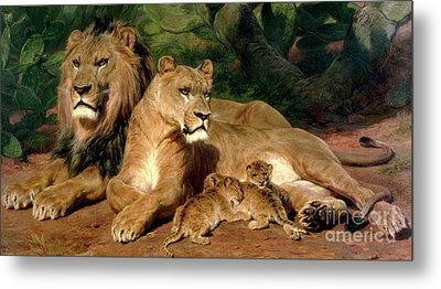 The Lions At Home Metal Print by Rosa Bonheur