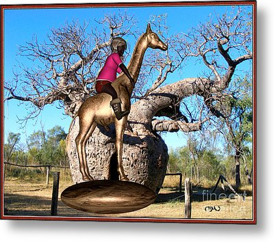 The Little Flower Ridden Giraffe 1 Metal Print