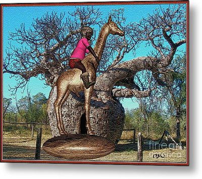 The Little Flower Ridden Giraffe Metal Print