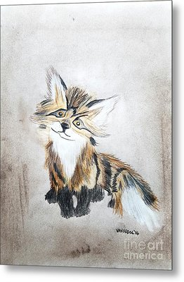 The Little Fox - Original Pastels Metal Print