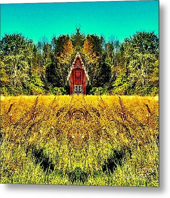 The Little House In The Field Metal Print