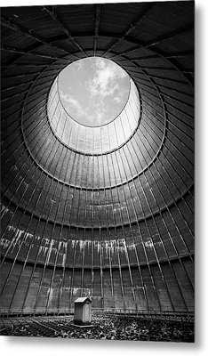 Metal Print featuring the photograph the little house inside the cooling tower BW by Dirk Ercken