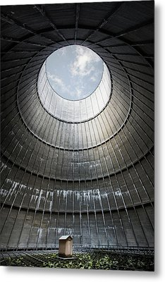 Metal Print featuring the photograph The Little House Inside The Cooling Tower by Dirk Ercken