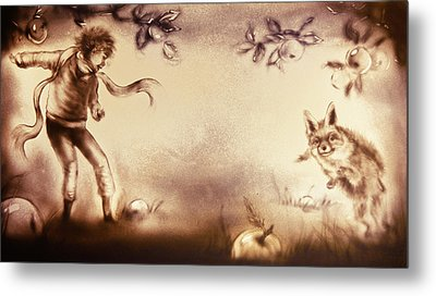 The Little Prince And The Fox Metal Print by Elena Vedernikova