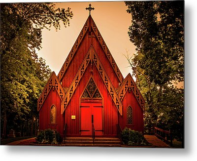 The Little Red Church Metal Print by Art Spectrum