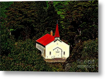 Red Steeple Red Roof White Church Near Sausalito California Metal Print by Michael Hoard