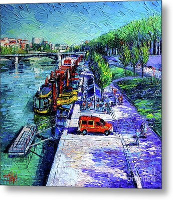 The Lively Banks Of Lyon - Modern Impressionist Palette Knife Oil Painting On Canvas Metal Print