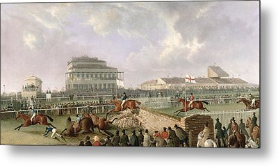 The Liverpool And National Steeplechase At Aintree Metal Print by William Tasker