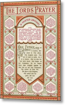 The Lord's Prayer In 14 Languages Metal Print by English School