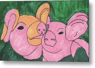 The Love Piglets Metal Print by Golden Dragon