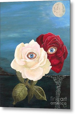 Metal Print featuring the painting The Lovers  Roses By Night by Eric Kempson
