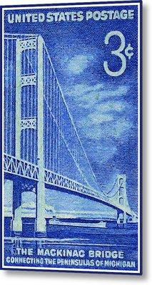 The Mackinac Bridge Stamp Metal Print by Lanjee Chee