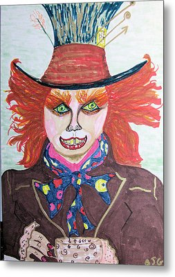 Metal Print featuring the drawing The Mad Hatter by Barbara Giordano