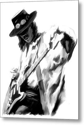 The Maestro Stevie Ray Vaughan Metal Print by Iconic Images Art Gallery David Pucciarelli