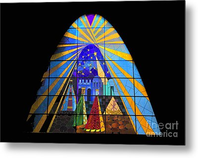 The Magi In Stained Glass - Giron Ecuador Metal Print by Al Bourassa