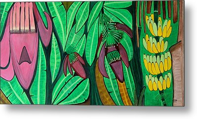 Metal Print featuring the painting The Magic Of Banana Blossoms by Lorna Maza