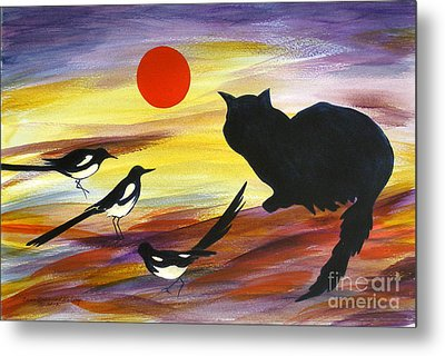 The Magpies Tell Meow Of Red Metal Print