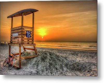 Metal Print featuring the photograph The Main Attraction Tybee Island Sunrise Lifeguard Stand Beach Art by Reid Callaway