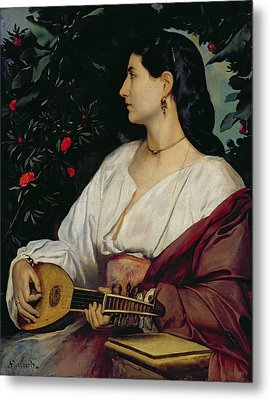 The Mandolin Player Metal Print by Anselm Feuerbach