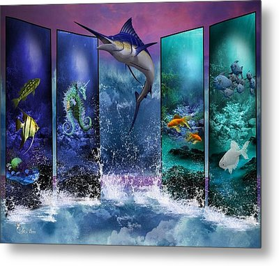 The Marlin And His Sea Friends  Metal Print by Ali Oppy
