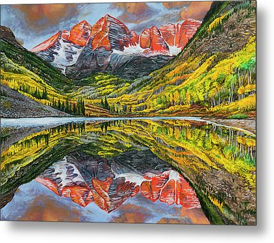 Metal Print featuring the painting The Maroon Bells  by Aaron Spong