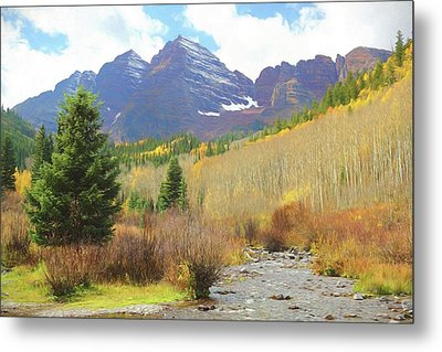 Metal Print featuring the photograph The Maroon Bells Reimagined 3 by Eric Glaser