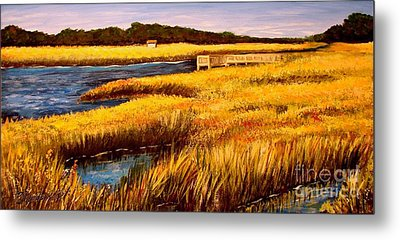 Metal Print featuring the painting The Marsh At Cherry Grove Myrtle Beach South Carolina by Patricia L Davidson