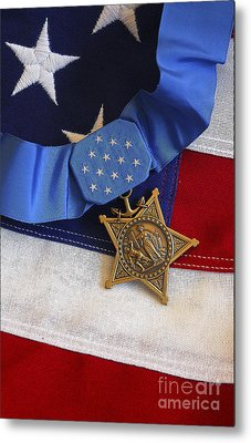 The Medal Of Honor Rests On A Flag Metal Print by Stocktrek Images
