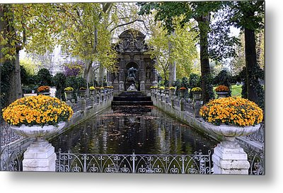 The Medici Fountain At The Jardin Du Luxembourg In Paris France. Metal Print by Richard Rosenshein