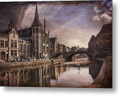 The Medieval Old Town Of Ghent  Metal Print