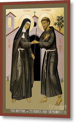 The Meeting Of Sts. Francis And Clare - Rlfac Metal Print by Br Robert Lentz OFM