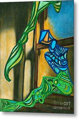 The Mermaid On The Window Sill Metal Print by Sarah Loft