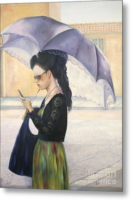 Metal Print featuring the painting The Message by Marlene Book