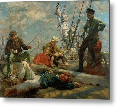 The Midday Rest Sailors Yarning Metal Print by Henry Scott Tuke