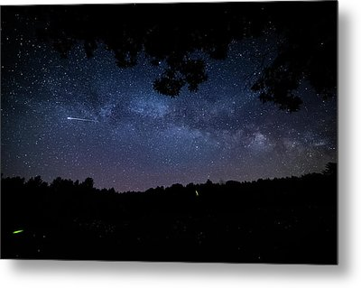 The Milky Way, Fireflies, And Shooting Stars Metal Print by Nathan Larson