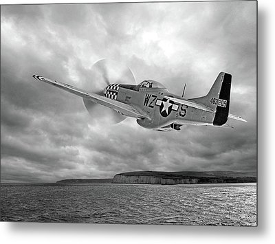 The Mission - P51 Over Dover In Black And White Metal Print