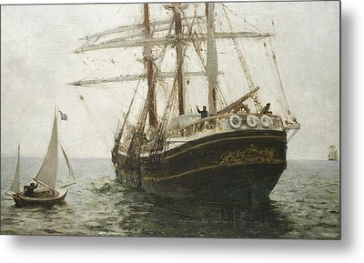 The Missionary Boat Metal Print by Henry Scott Tuke